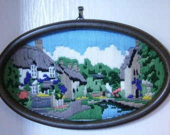 Handmade completed lovely cottage tapestry picture