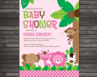 Whale baby shower invitation printable boy baby shower girl safari jungle baby shower invitation printable pink jungle animals invitation girl baby shower filmwisefo Image collections