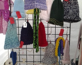 Hand knit Hats and Scarfs