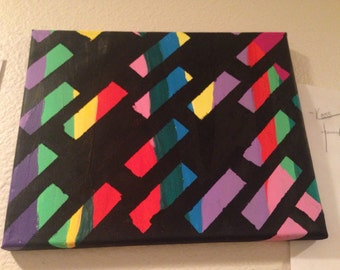 Abstract Painted Rainbow Canvas
