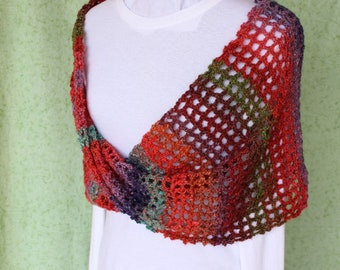 Mobius Crocheted Wrap, Red Crochet Cowl, Mobius Cowls, Multi Color Openwork Wrap, Red Crocheted Wraps, Crocheted Accessories