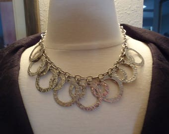 """Vintage Modernist Statement Chunky 925 Sterling Silver Heavy Cable Chain Necklace w/ Hammered Open Circles, Toggle Clasp, 55 Grams, 18"""" Long"""