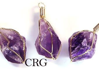 "Gold Plated Caged Amethyst Point Pendant 1-1.5"" (CA6BT)"