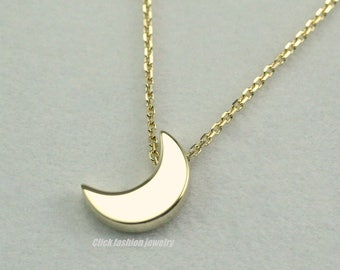 Gold moon crescent Necklace, 14 k solid gold moon necklace, everyday necklace, Girl Friend Gift, Birthday Necklace, Christmas, Gift