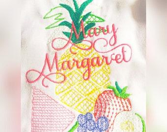 TUTTI Fruity Sketch Embroidery Design 5X7 two ti fruity