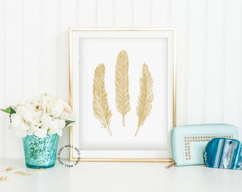 Gold Feather Print, Poster, Bird Feather, Print, Wall Art, Home Decor,Printable,Scandinavian,Affiche Scandinave,Tribal,Ethnic,Three Feathers