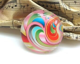 2 cabochons glass circle Swirl pink swirl 14 mm - 14 mm