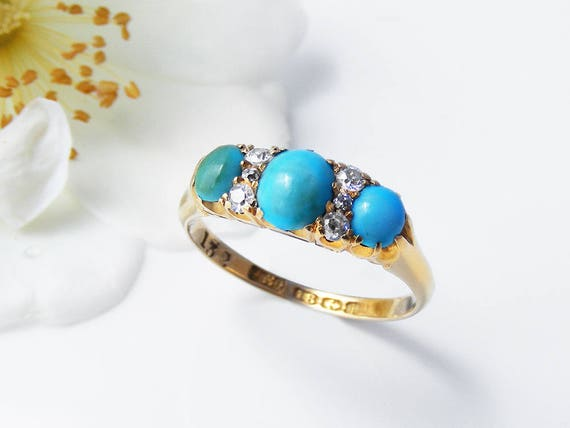 Antique Turquoise & Diamond Ring | Edwardian Engagement Ring | 1908 English Hallmarks 18ct Gold | Persian Turquoise - US Size 5.5, UK Size L