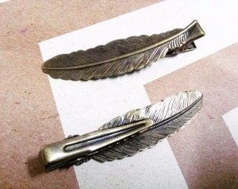 Alligator Clip Blanks Feather Clip Blanks Antiqued Bronze Feather Clips 53mm Hair Accessory Blanks 5 pieces