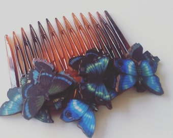 Woodland, mini butterflies, wooden, butterflies, hair comb, Blue, butterfly hair slide,blue brown, blue butterfly, by NewellsJewels on etsy