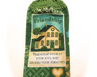 Friendship House Hand Towel With Grass Green Crocheted Top