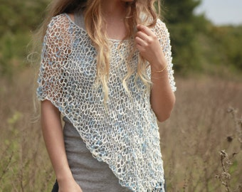 Ponchos, summer cotton poncho, ivory blue women's poncho, hand knit summer shawl, beach coverup, loose knit poncho, boho handmade poncho