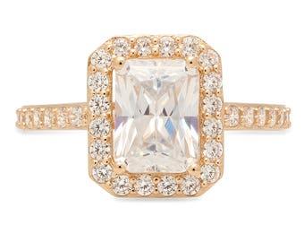 Emerald Bridal Ring, Emerald Ring, Wedding Ring Sets, Wedding Rings Sets, 2.07 ct Emerald Bridal Promise Ring in Solid 14k Yellow Gold, Ring