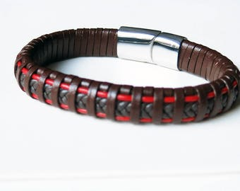 Brown and red woven leather men's bracelet with stainless steel magnetic closure