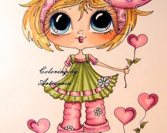 INSTANT DOWNLOAD Digital Digi Stamps Big Eye Big Head Dolls Bestie New Bestie  Love Garden  My Besties By Sherri Baldy