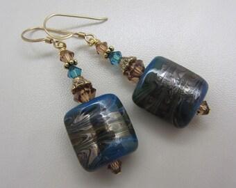 Lampwork Earrings Glass Artisan Earrings Blue Earthtone Swirls Earrings Glass Bead Earrings Dangle Earrings With Swarovski Crystals SRAJD
