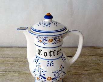 Porcelain Heritage Royal Coffee Pot that says Coffee with Lid