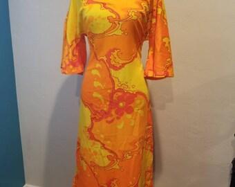 "1960s Bright Sunshine Floral ""MooMoo"" Dress"