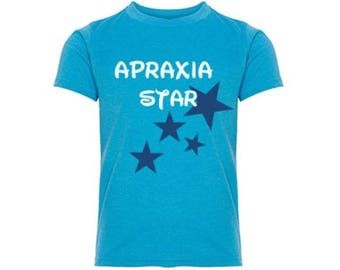 Youth Apraxia Star Shirt XS - XL Apraxia Awareness Boys and Girls