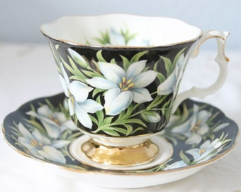 Vintage Royal Albert Provincial Flowers Gentleman Size Cup and Saucer, 'Madonna Lily', England