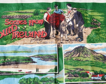 Vintage Tea Towel Souvenir Towel Ireland Irish Scenes Green
