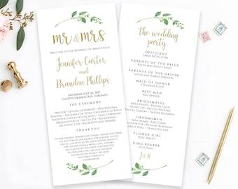 Printable Wedding Program Template Mr & Mrs Ceremony Program Order of Ceremony Wedding Template Wedding Programs Instant Download Jasmine