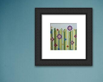 Modern Cross Stitch Kit 'Flower Meadow Green' Large, Embroidery Kit, Craft Kit, Modern Wall Art, Needlepoint Kit, Cross Stitch Pattern, Gift