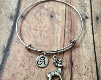 Deer initial bangle - deer jewelry, woodland jewelry, buck bracelet, nature jewelry, animal bracelet, deer bangle, silver deer bracelet