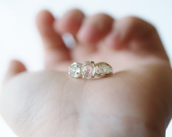 Three Stone Engagement Ring, Rough Diamond Ring, Raw Diamond Ring, Sterling Silver Engagement Ring, Size 7, Avello