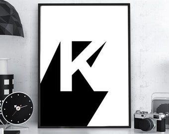"""Typography Print, Plus Sign, Swiss """"K"""", Typography Poster, Bedroom Wall Decor, Scandinavian Typography, Black and White, Numbers Print"""