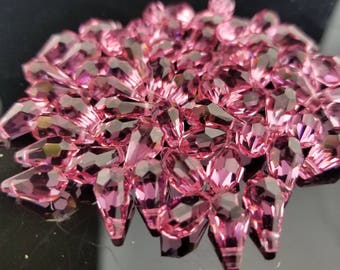 12 genuine Swarovski Rose Pink Briolette Crystal Beads
