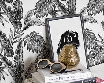 Exotic Palm Leaf Wallpaper / Self Adhesive or Regular Leaf Wallpaper / Removable Palm Leaf Wall Mural / Leaf Wallpaper