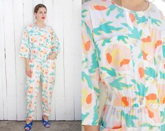 Vintage 80s Jumpsuit | 80s Colorful Abstract Floral Print Cotton Jumpsuit White | XL