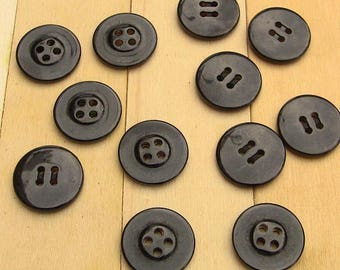 50 buttons black shiny 22 mm diameter