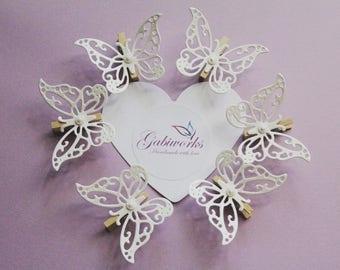 Craft Pegs/Small Pegs 20 pcs./ Matt White Butterflies PEGS/Wooden Pegs/  Wedding Pegs/Rustic Party Pegs/ Butterflies mini Pegs/