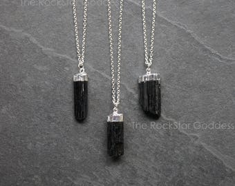 Black Tourmaline / Mens Necklace / Tourmaline Necklace / Raw Tourmaline / Silver Tourmaline / Mens Jewelry