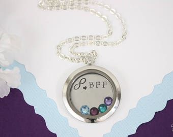 Best Friend Floating Locket Necklace Personalized, BFF Gift, Birthstone Charm, Heart Charm, Monogram Necklace, Friendship, Bridesmaid, Mom