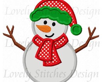Christmas Snowman Applique Machine Embroidery Design NO:0578