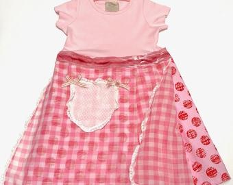 Granny Dress, Pink s/s 3-4yrs, Vintage Apron, Velvet Ribbon