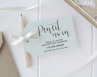 Pencil Us In! - Pale Sage Save The Date Cards