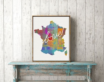 France Love - Colorful Watercolor Style Wall Art Print & Home Country Map Artwork - Travel, Moving, Engagement, Wedding, Honeymoon Gift