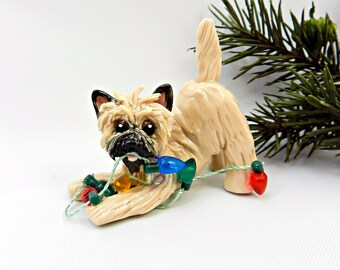 Cairn Terrier Wheaten Porcelain Christmas Ornament Figurine Lights