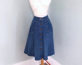 VINTAGE 70s GAP Denim Skirt | Rockabilly Blue Jean Prairie Skirt | Hippie BoHo Denim Country Western Skirt BoHo Festival Jean Skirt