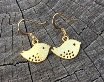 Gold Birds . Earrings