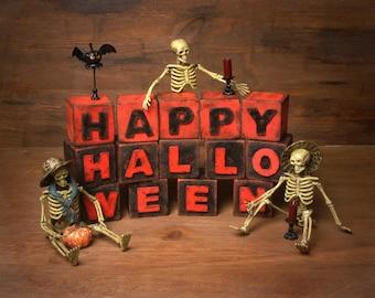 "Halloween Shabby Chic Letter Blocks ""Happy Halloween"""