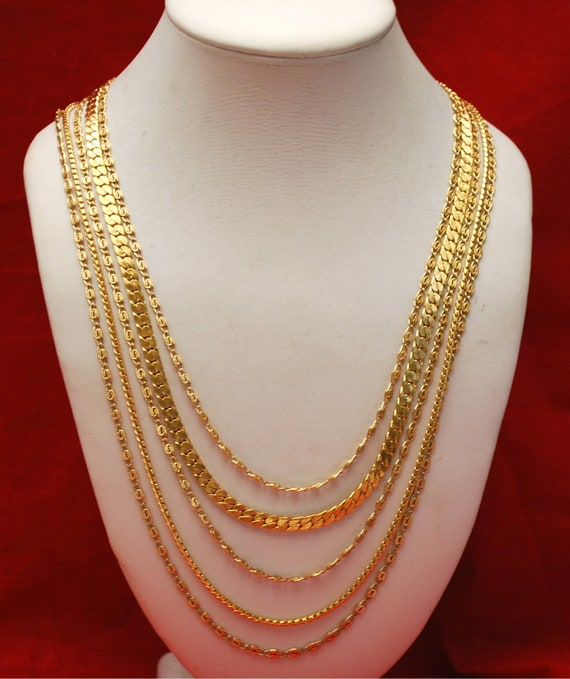 Monet Necklace  -  multi strand chain -  gold plated  flat chains Signed  necklace
