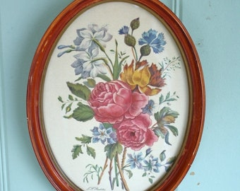 Sale Shabby Floral Print Framed Roubillac Bouquet Gesso on Wood Frame Cottage Decor