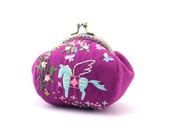4-Piece,Clutch with  Pegasus in Rose ,Purse, Embroidery Design,Pouch, Jewels Bag,Christmas Gift For Her,Gift Bag,Modern Design,Birthday