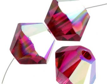 Swarovski Crystal Beads 5328 4MM RUBY AB (aurora borealis) Faceted Bicone Bead 25pcs