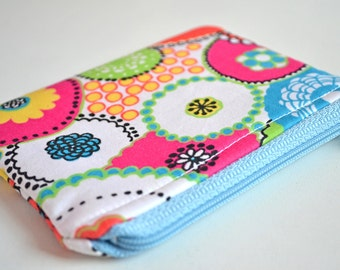 Japanese Retro Flowers Padded Coin Purse